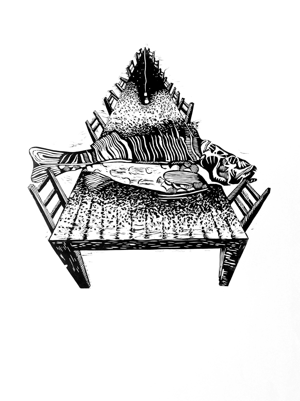 Орест Зьомко. Трапеза (серія «День»), 2018; папір, лінорит, 60х85