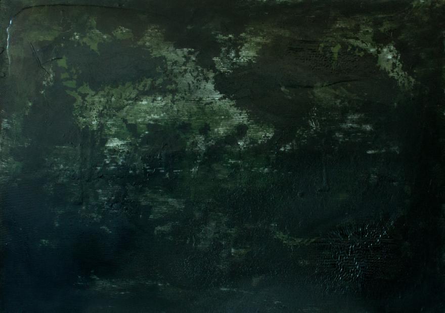 Антоніна Денисюк. Зелений, 2018; алебастр, рідке скло, полотно, 100х140 см