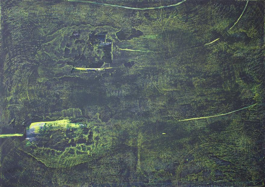 Антоніна Денисюк. Сірий 5, 2016; алебастр на полотні, 100х140 см