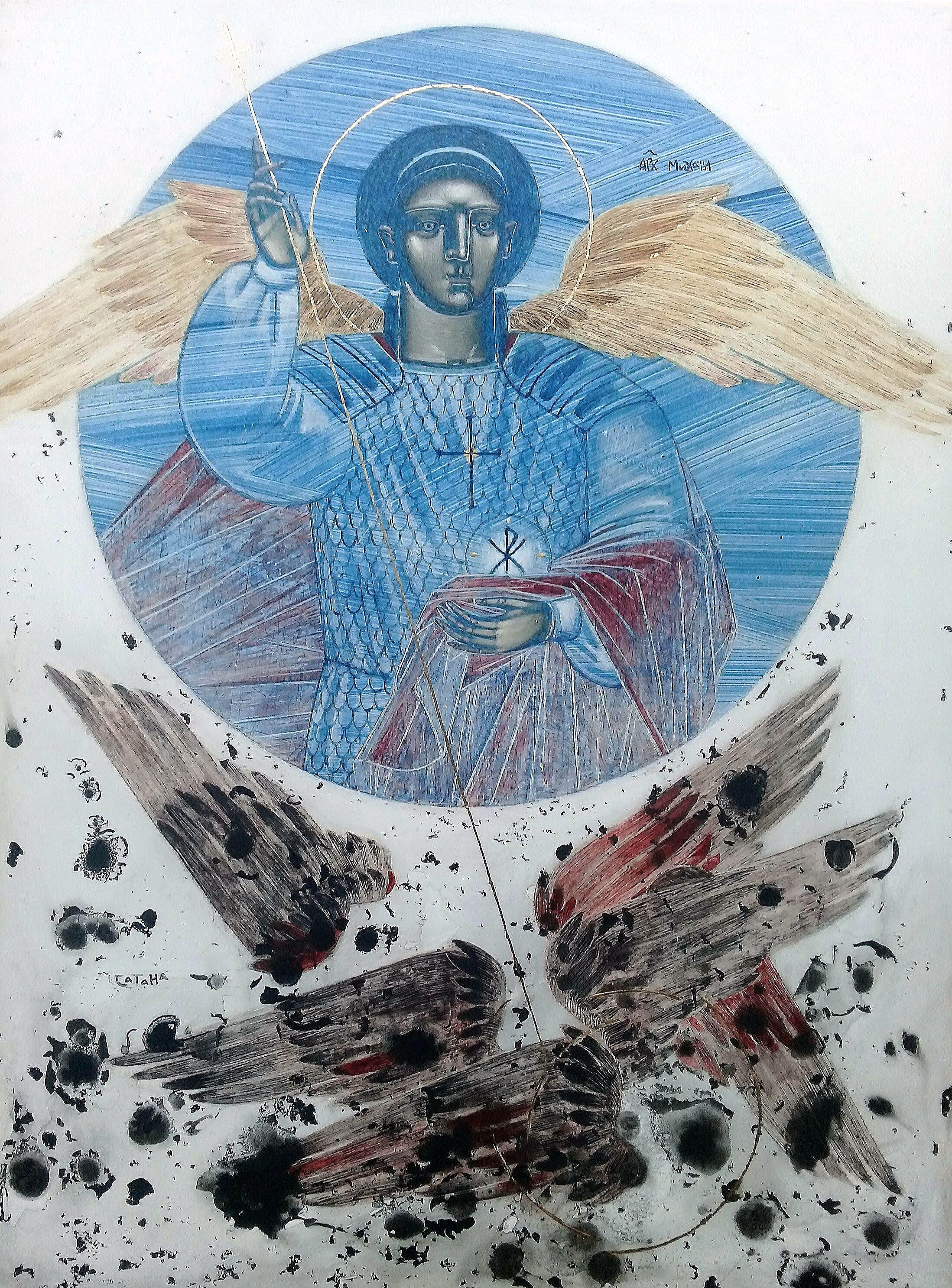 Катерина Кузів. Архистратиг Михаїл. Поверження Сатани, 2020; дошка, левкас, жовткова темпера, золото, 40х30