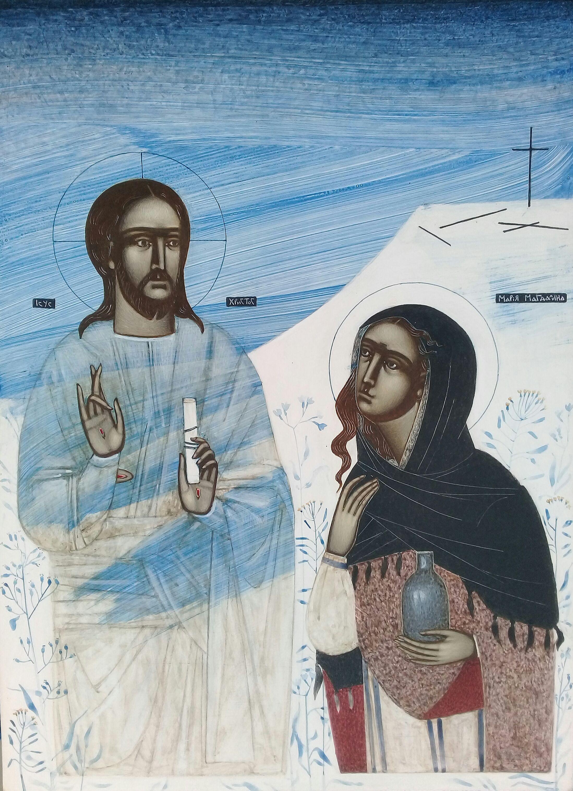 Катерина Кузів. Явлення воскреслого Ісуса Христа Марії Магдалині, 2020; дошка, левкас, жовткова темпера, 40х30