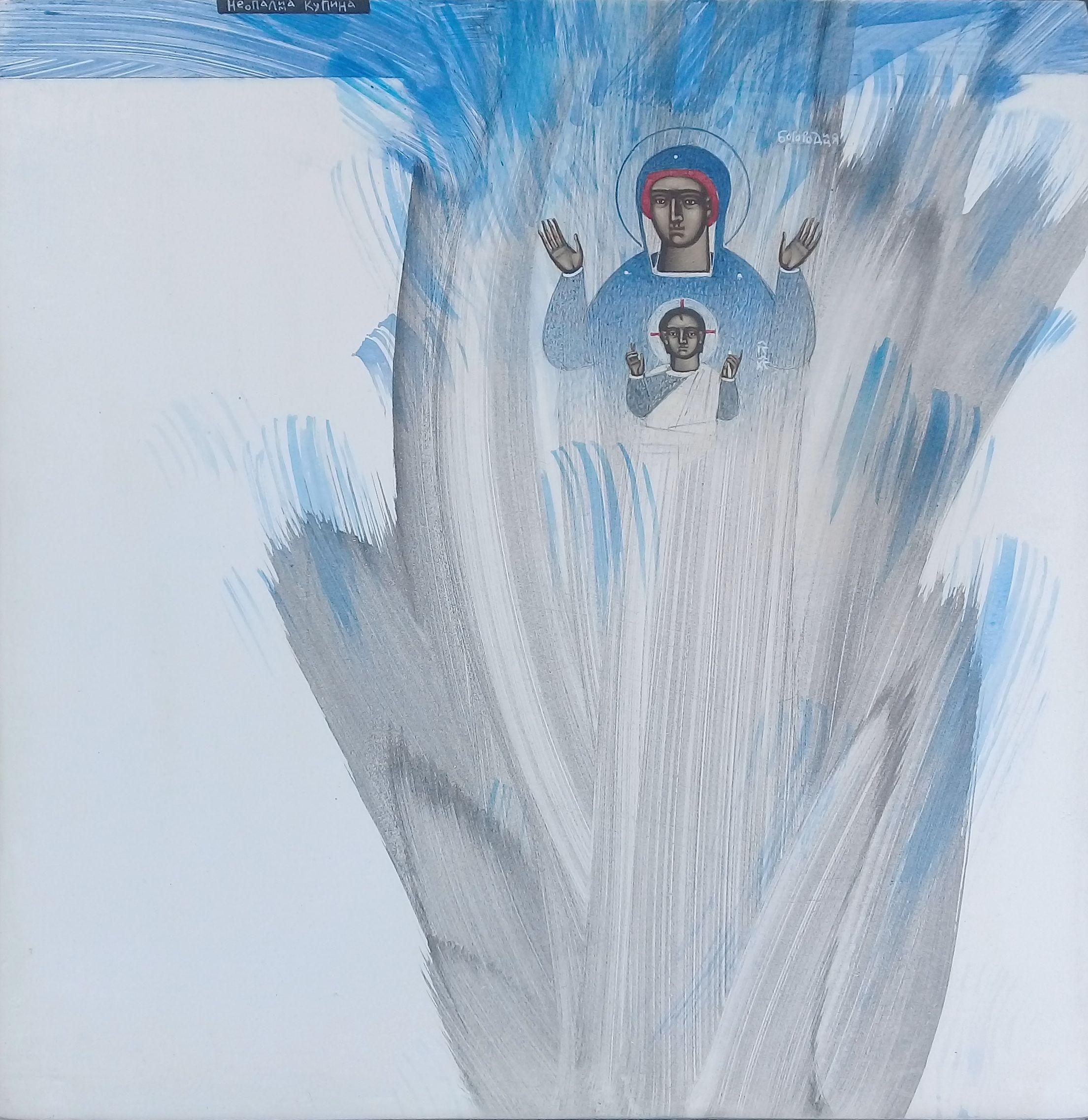 Катерина Кузів. Неопалима купина, 2020; Дошка, левкас, жовткова темпера, 30х30