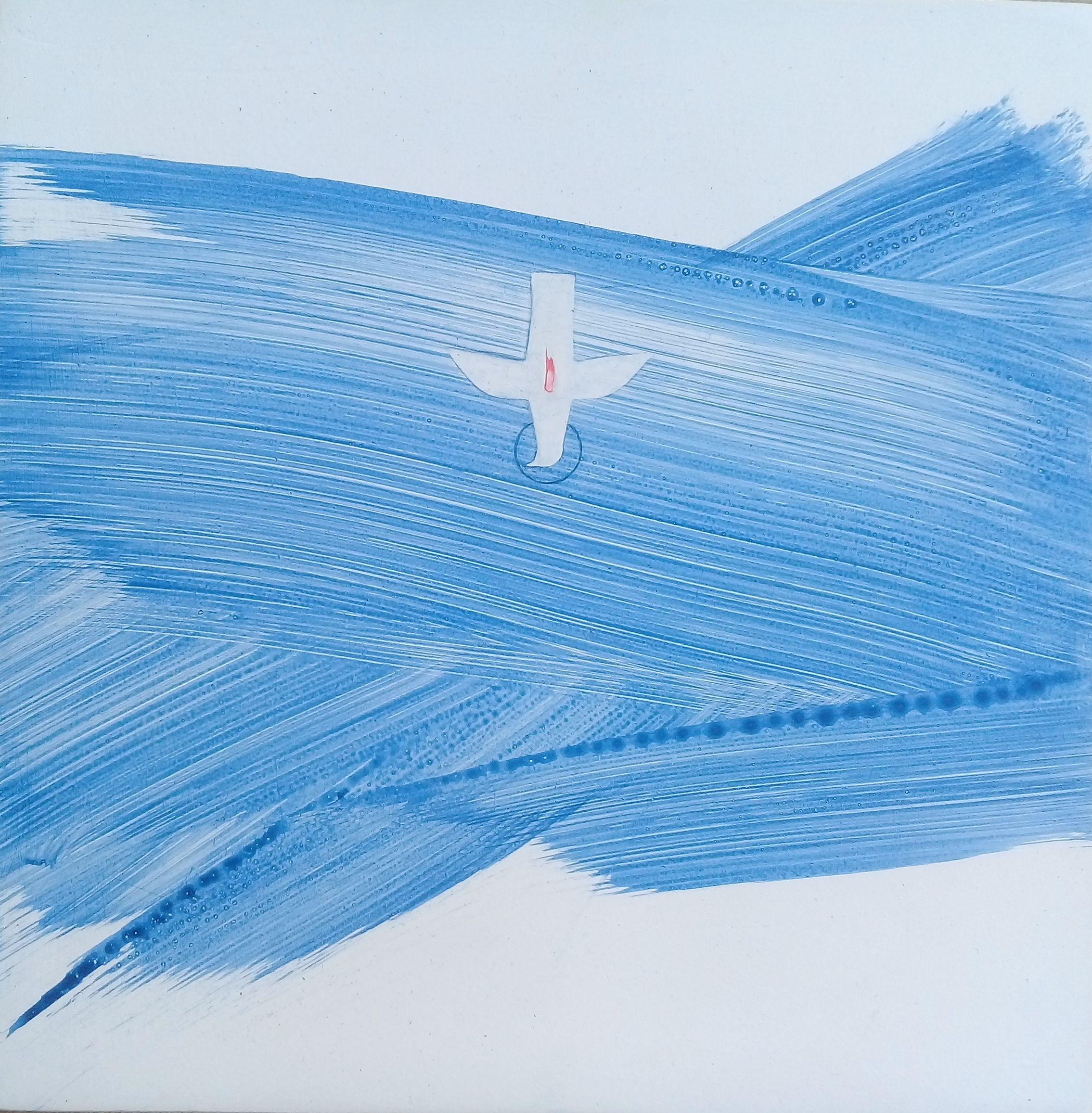 Катерина Кузів. Радуйся, Благодатна, Господь з Тобою, 2020; Дошка, левкас, жовткова темпера, 20х20