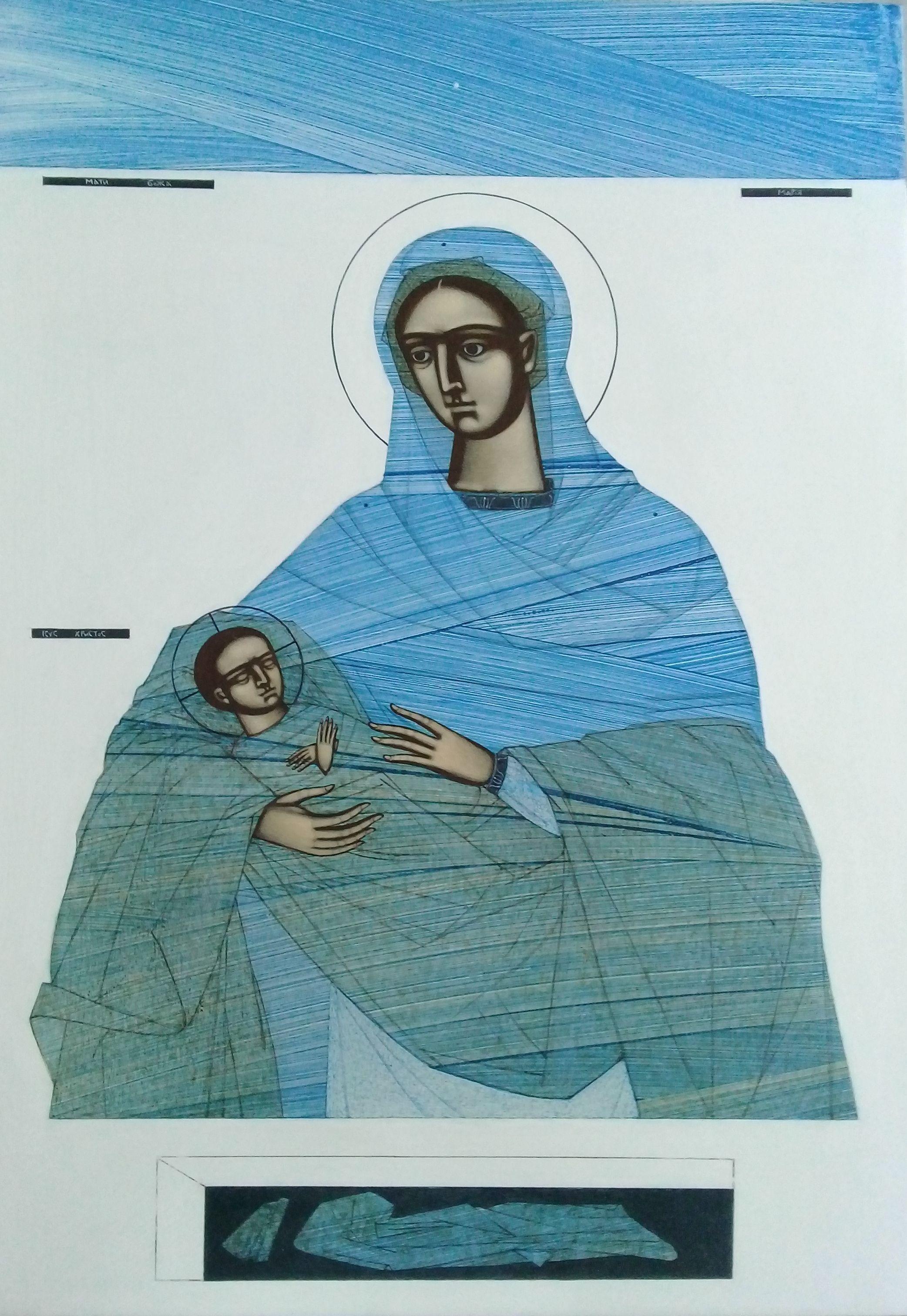 Катерина Кузів. Різдво, 2019; дошка, левкас, жовткова темпера, 70х50