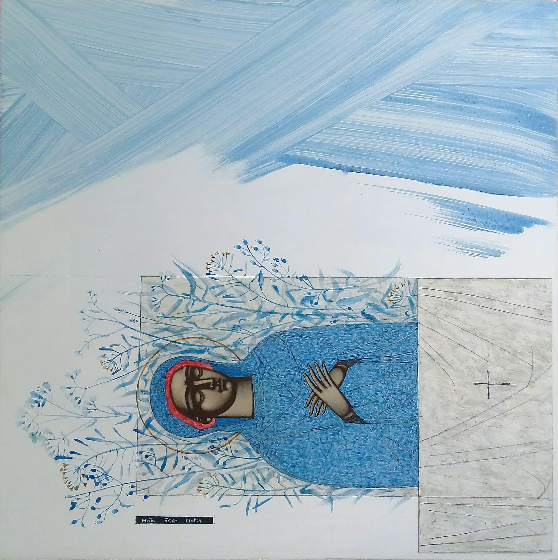 Катерина Кузів. Успення Богородиці, 2019; дошка, левкас, жовткова темпера, 40х40