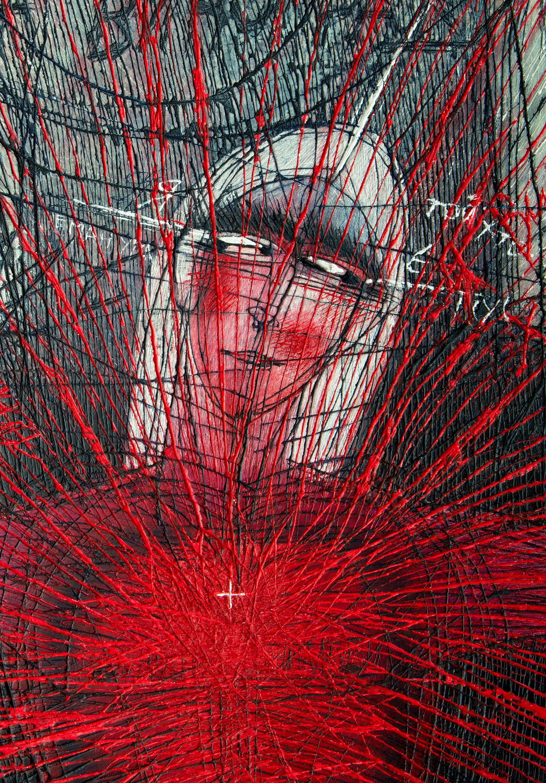 Олена Смага. Фрагмент. Я - Виноградина, 2016, дерев'яна панель, левкас, акрил, 93х81,5
