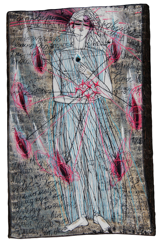 Олена Смага. Об'явлення Ісуса Христа 2016; дошка, левкас, акрил, 34x22