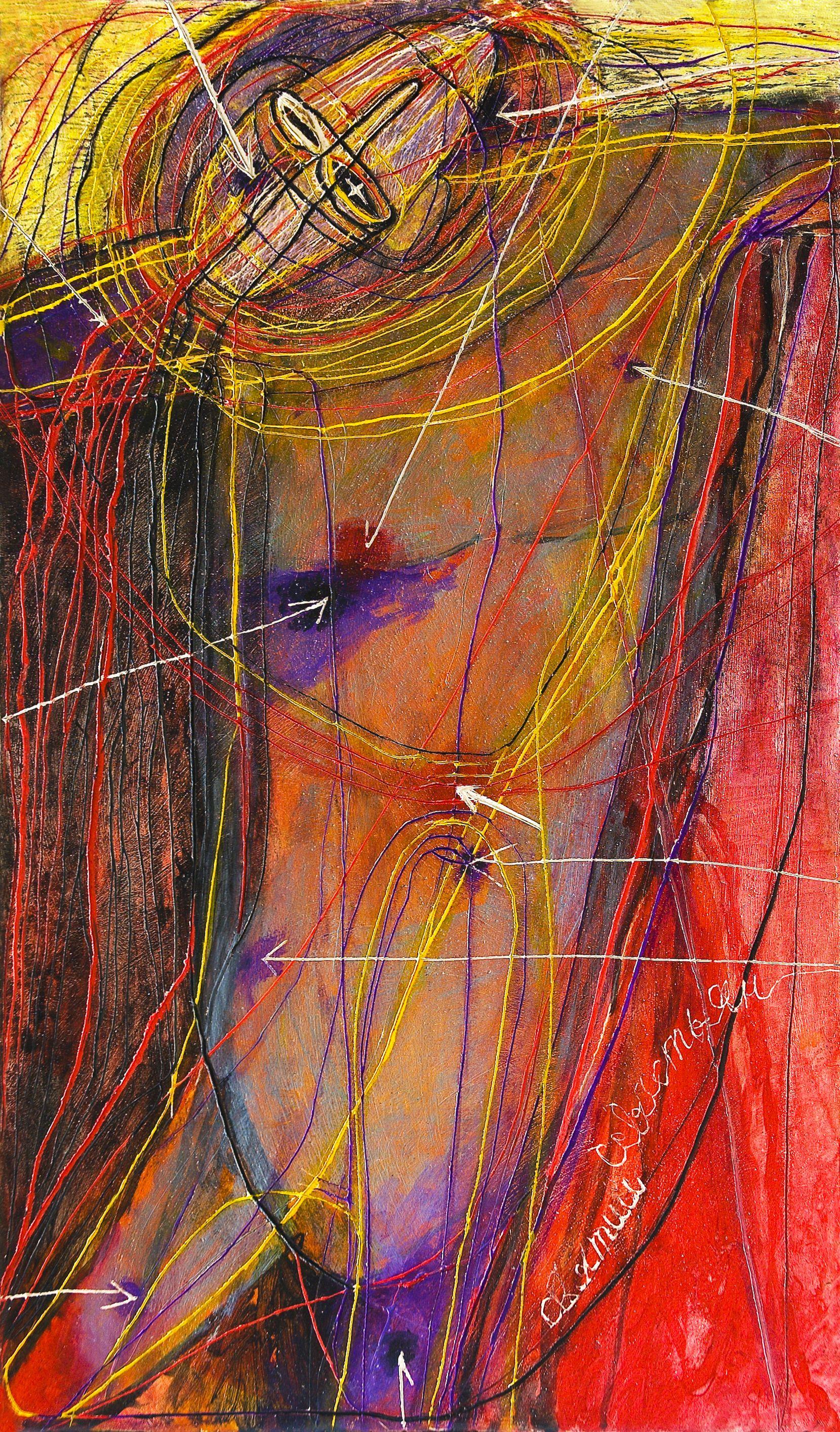 Олена Смага. Святий Себастьян, 2009, дошка, левкас, акрил, 42,5х24