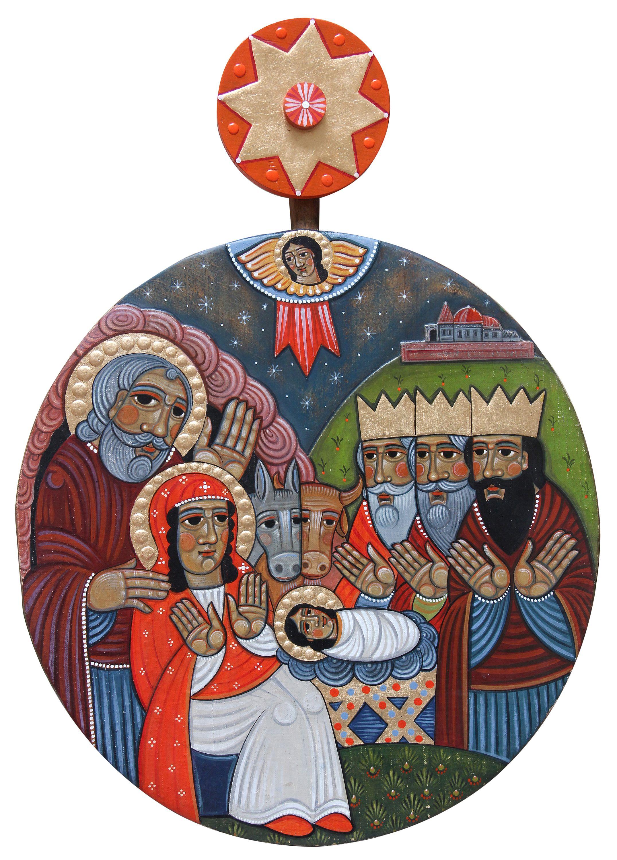 Роман Зілінко. Поклін Трьох Царів, 2020; дошка, паволока, левкас, акрил, золочення; 73х53,5