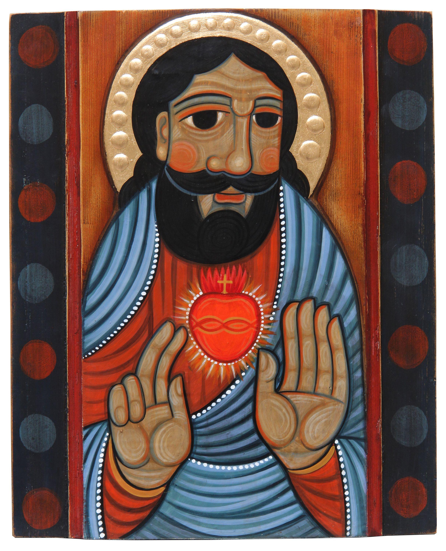 Роман Зілінко. Серце Христове, 2020; дошка, паволока, левкас, акрил, золочення, 36х29