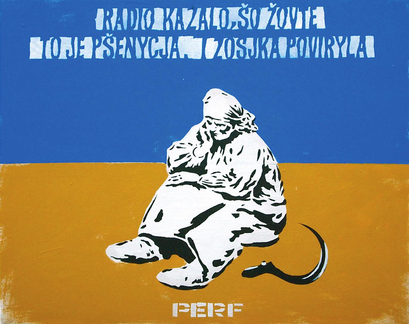 Станіслав Перфецький. Радіо казало, 2014; ДВП, трафарет, олія