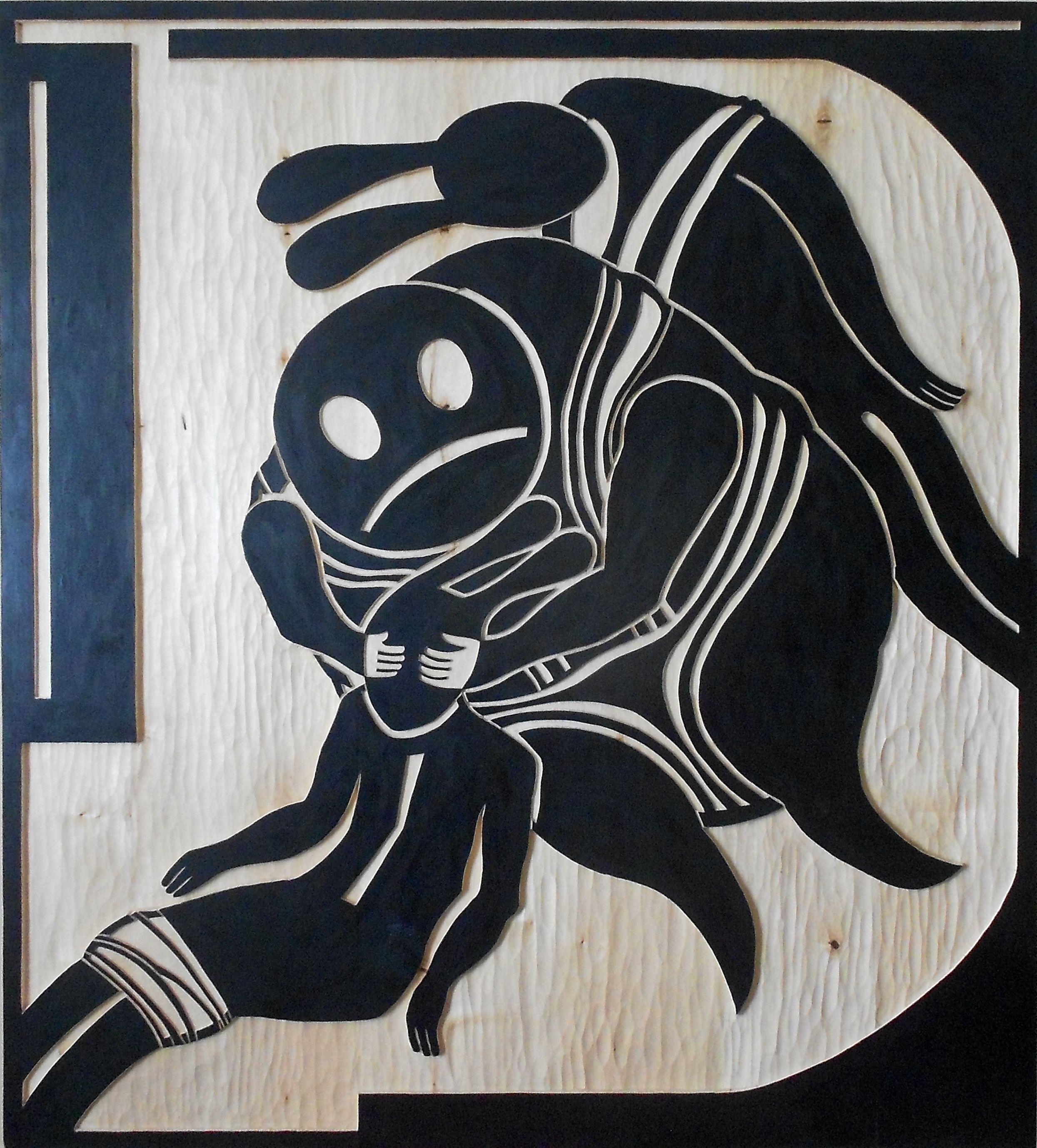Любомир Тимків. Instruction-Destruction №5, 2017; скульптурний рельєф, дерево, 120х110