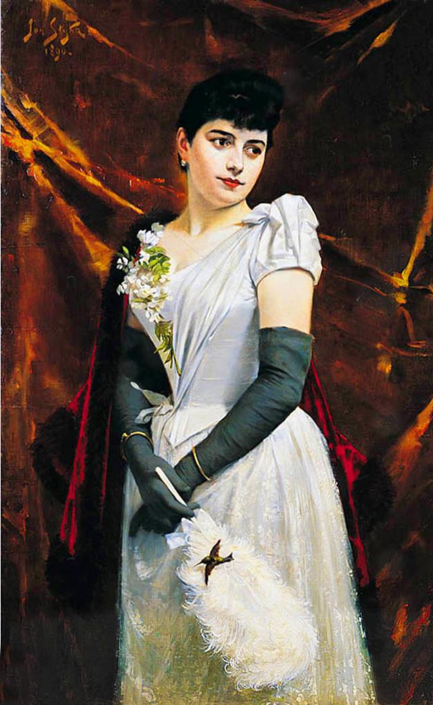 Ян Стика. Дама в білій сукні, 1890; олія на полотні, 130x80 см