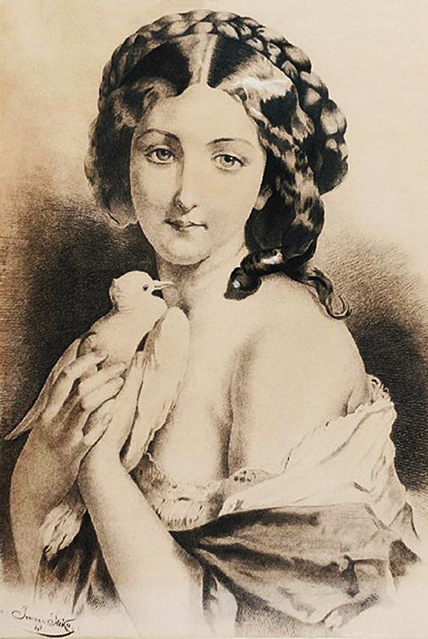 Ян Стика. Дівчина с голубом, 1875; папір, туш, крейда; 55х39 см