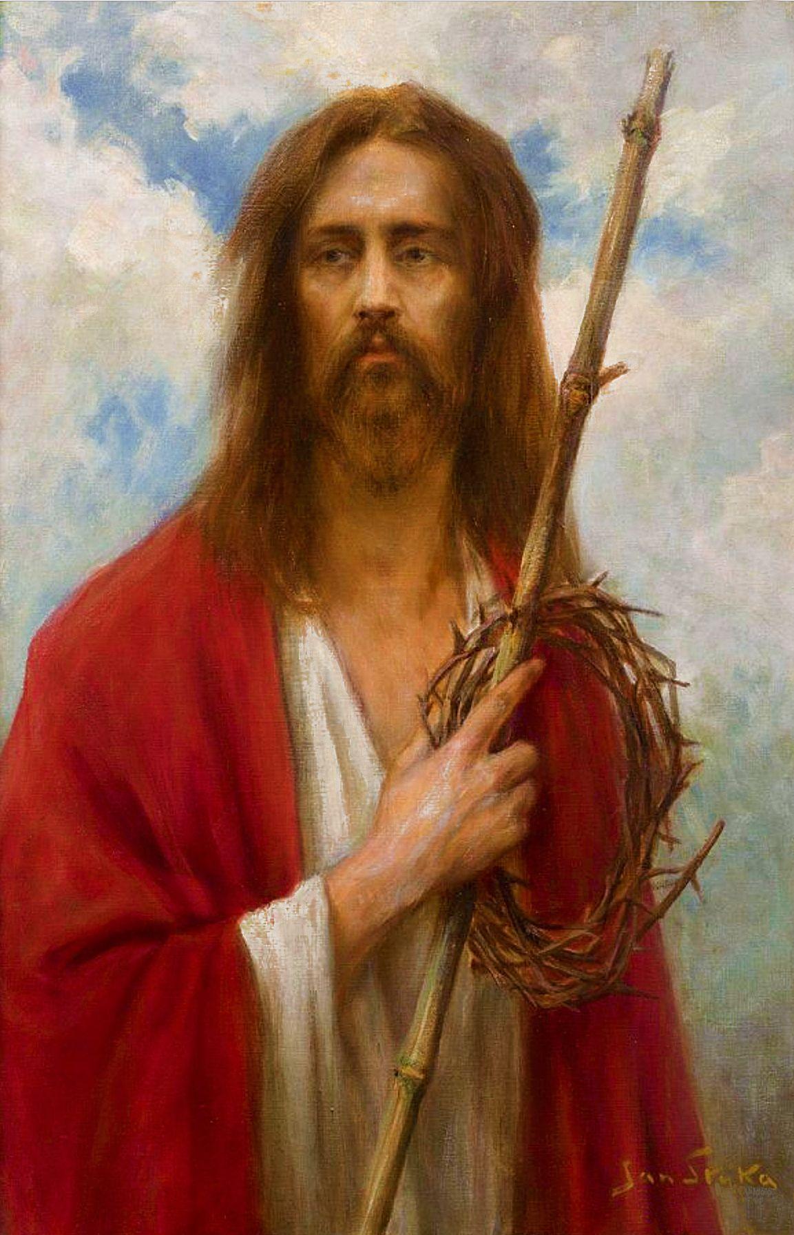 Ян Стика. Христос з тереновим вінцем, 1925; олія на полотні, 103х66 см