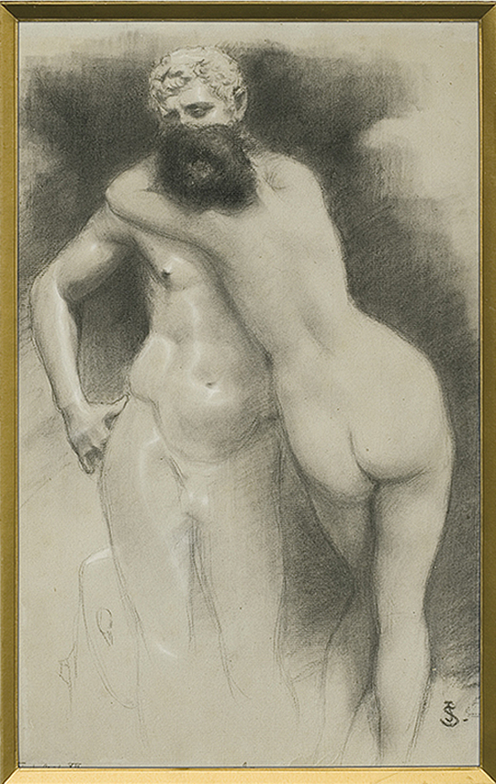 Ян Стика. Поцілунок Юніс (іл. Quo Vadis), 1903; папір, вугілля, 42х27 см
