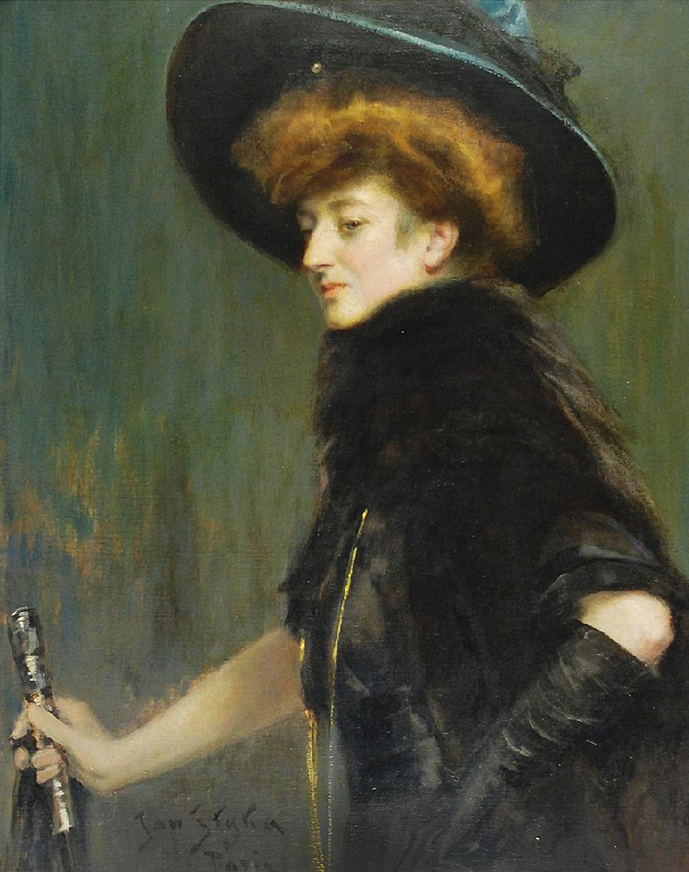 Ян Стика. Портрет дами, 1904; олія на плотні, 82х65 см