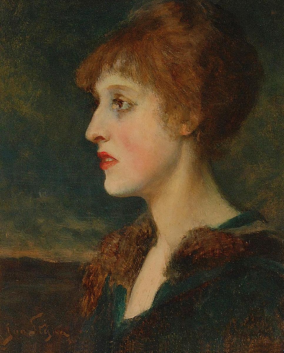 Ян Стика. Портрет молодої жінки, 1910; олія, картон, 44х35 см