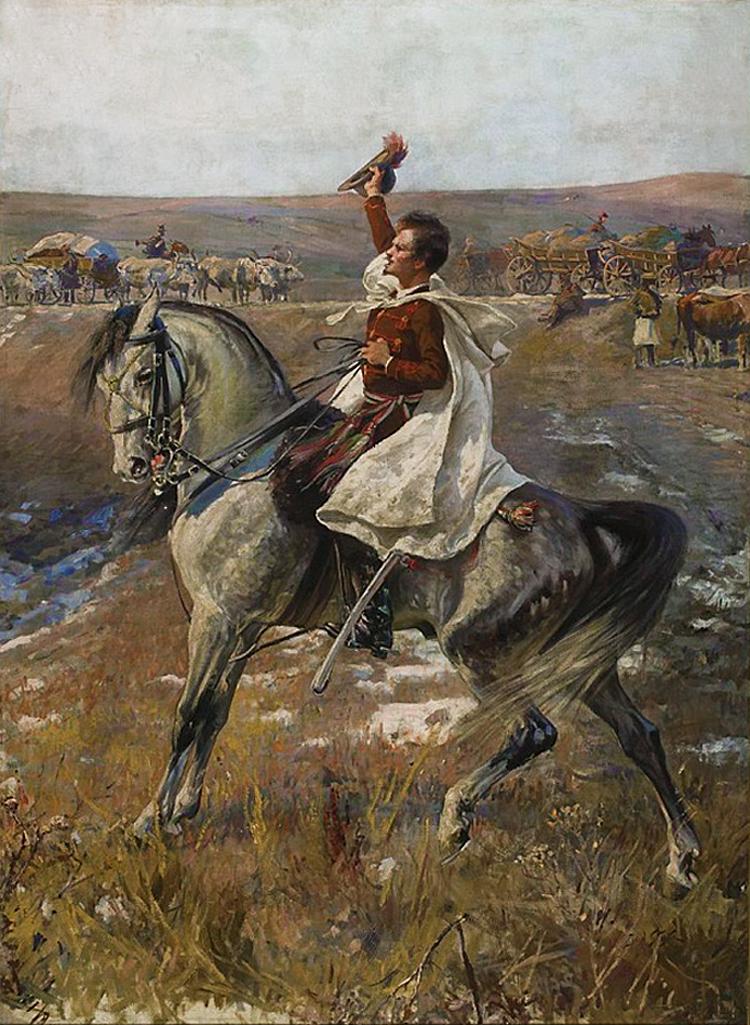 Ян Стика. Шандор Петефі поет, 1897; олія на полотні, 253х185 см; NMW
