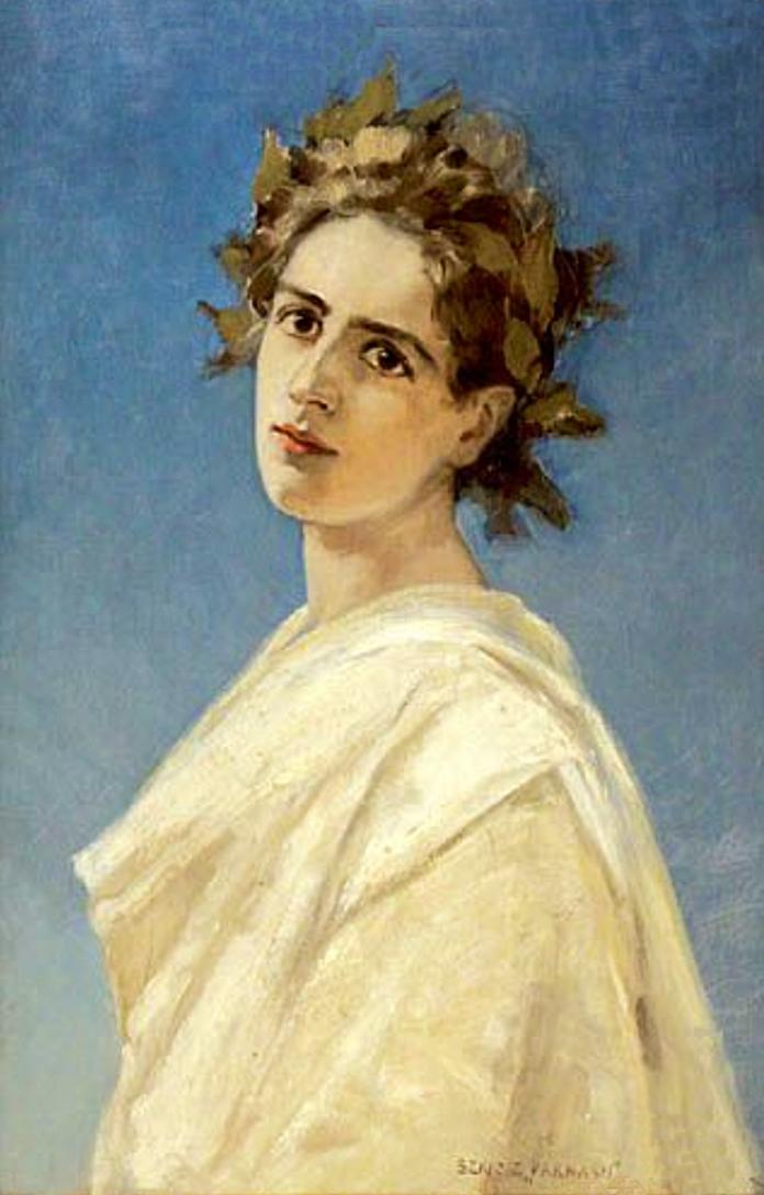 Ян Стика. У лавровому вінку, 1889; олія на полотні, 75х50 см