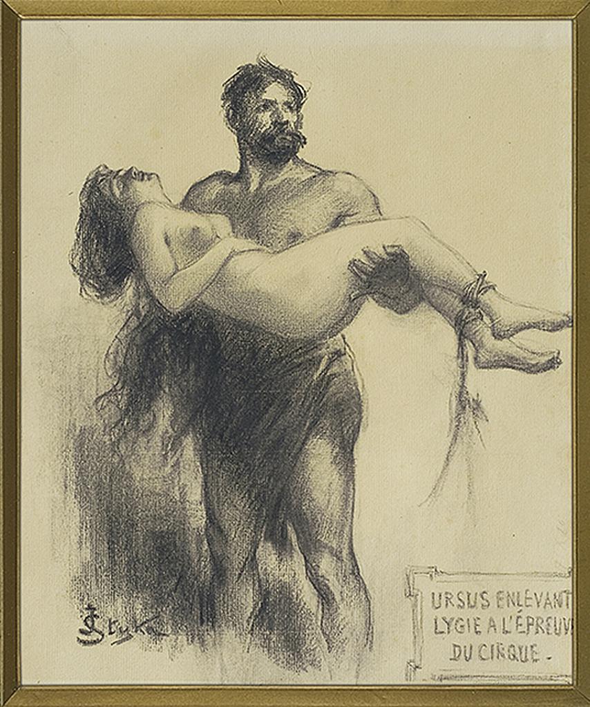 Ян Стика. Ілюстрація Quo Vadis: Урсус рятує Лусію, 1903; папір, вуголь, 33х27 см