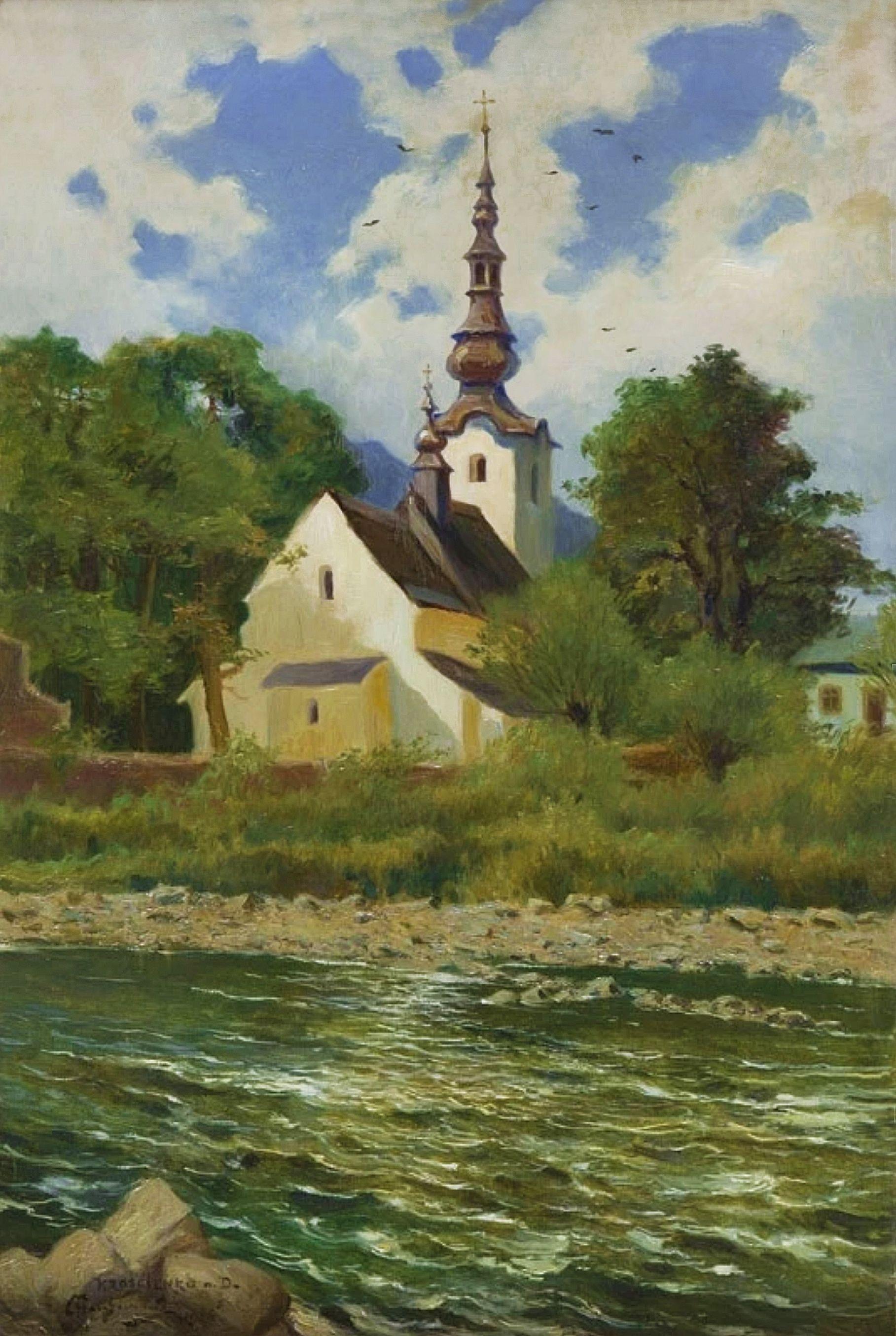 Марцелій Гарасимович. Храм в Коростенко-над-Дунайцем, 1926; олія на полотні;  68х47 см