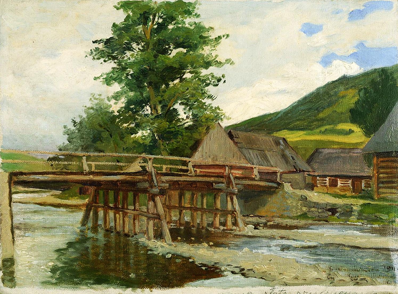 Марцелій Гарасимович. Міст в горах, 1911; олія на полотні, 28х38 см