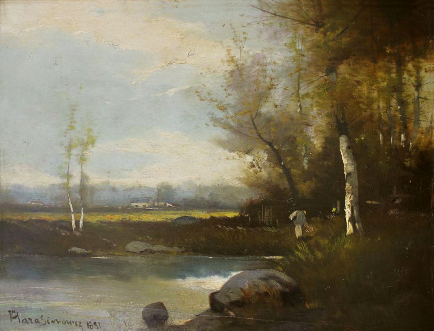 Марцелій Гарасимович. Пейзаж, 1891; олія на деревяній основі, 32х41 см