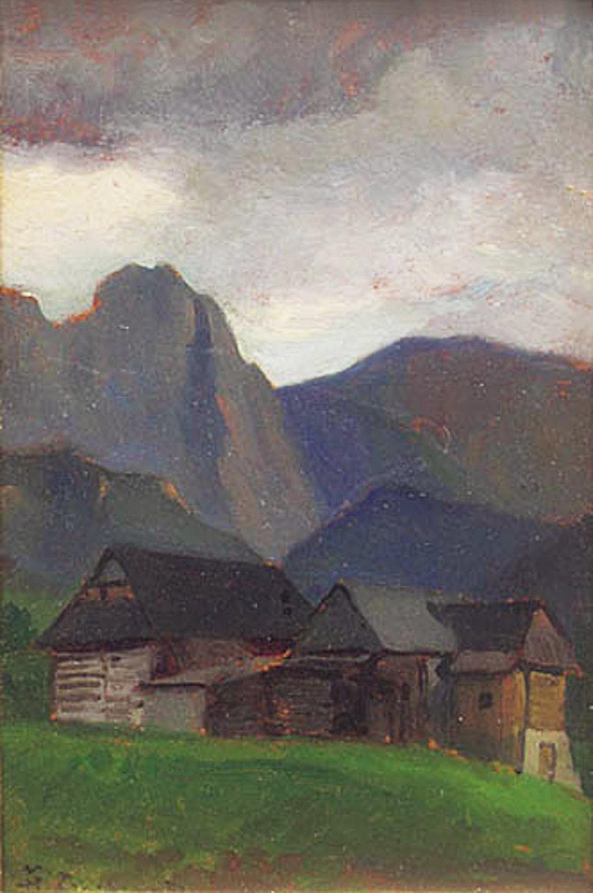 Марцелій Гарасимович. Пейзаж в горах, 1917; фанера, олія, 26х16 см