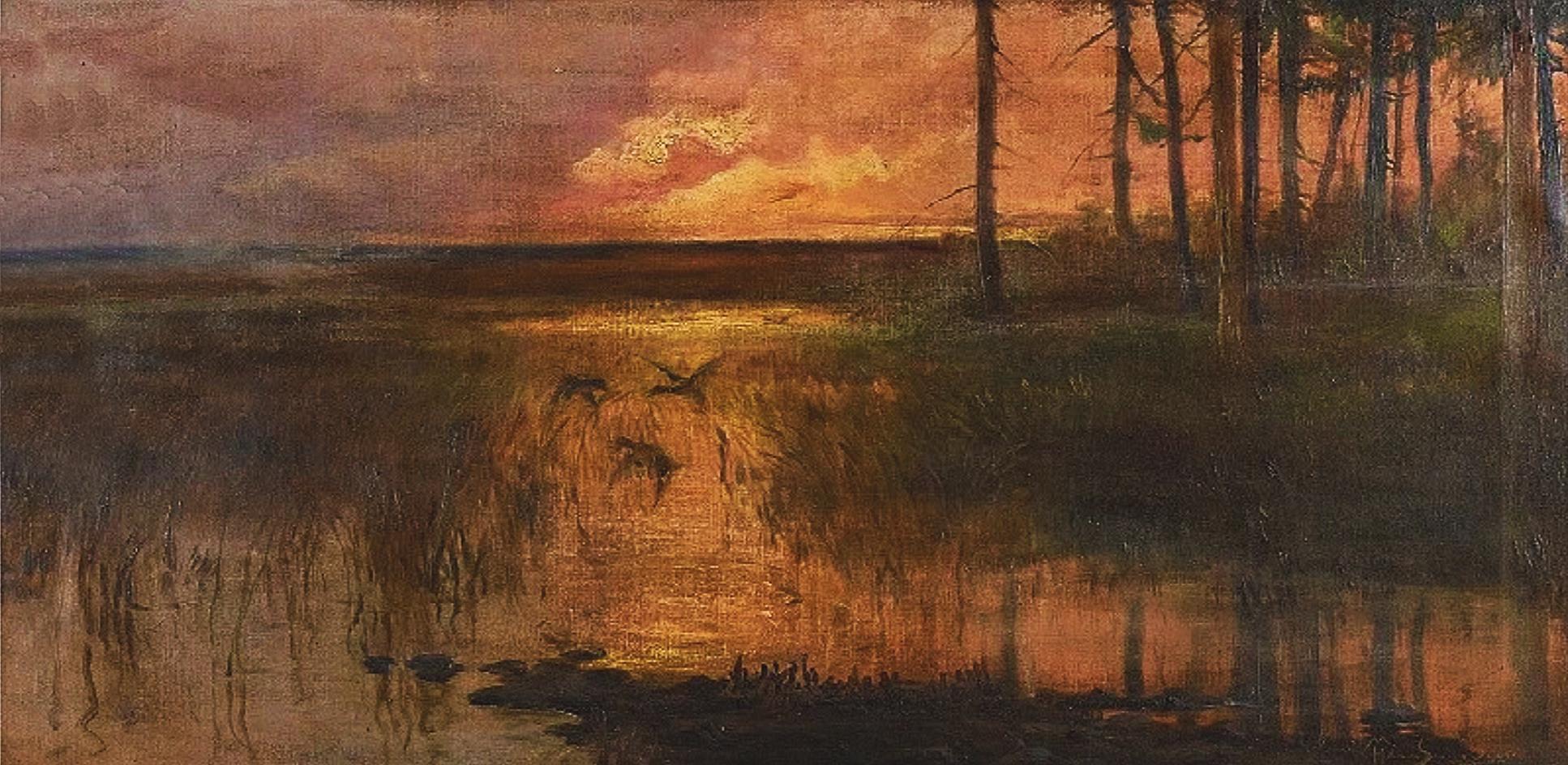 Марцелій Гарасимович. Полісся захід сонця, 1908; олія на полотні, 46х91 см