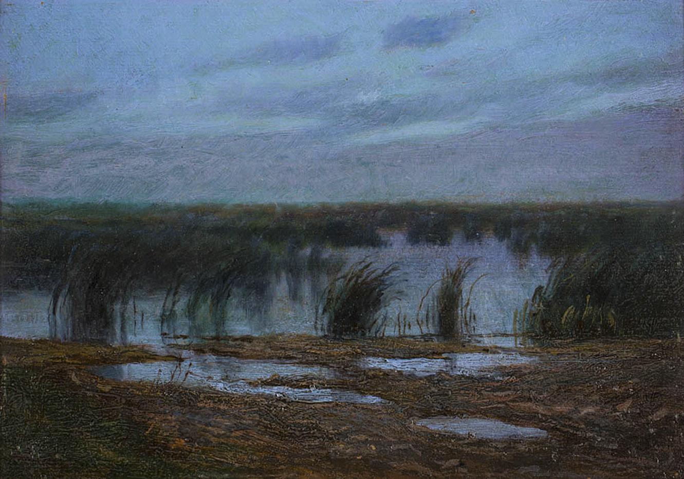 Марцелій Гарасимович. Сутінки на заплавах, 1922; картон, олія, 25х34 см
