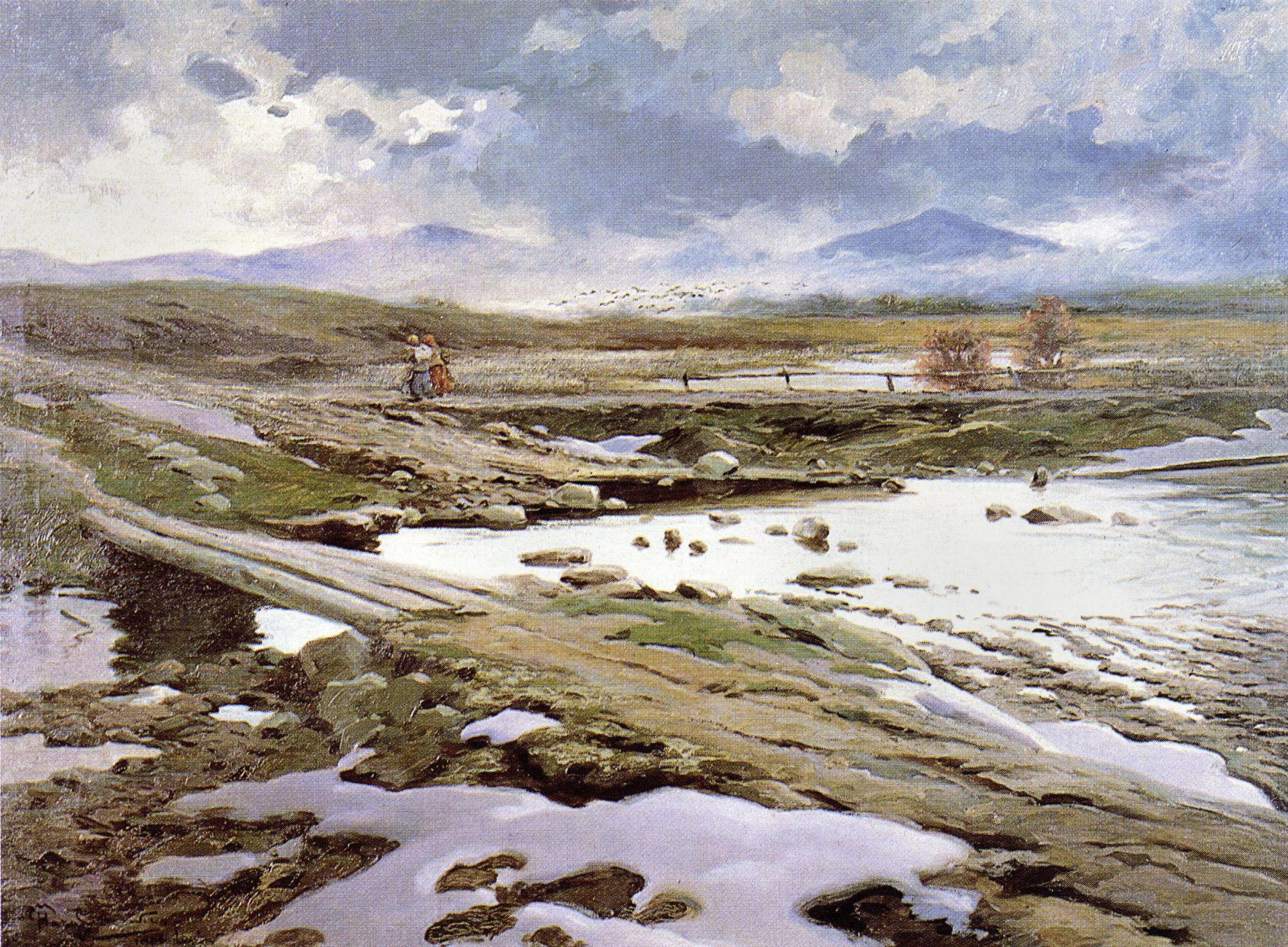 Марцелій Гарасимович. Відлига, 1906; олія на плотні, 67х90 см; ЛНГМ