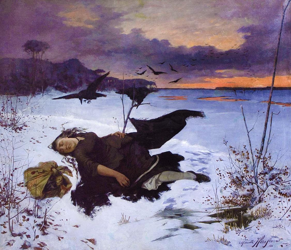 Марцелій Гарасимович. Здобич круків, 1884; олія на полотні, 121х142 см; ЛНГМ