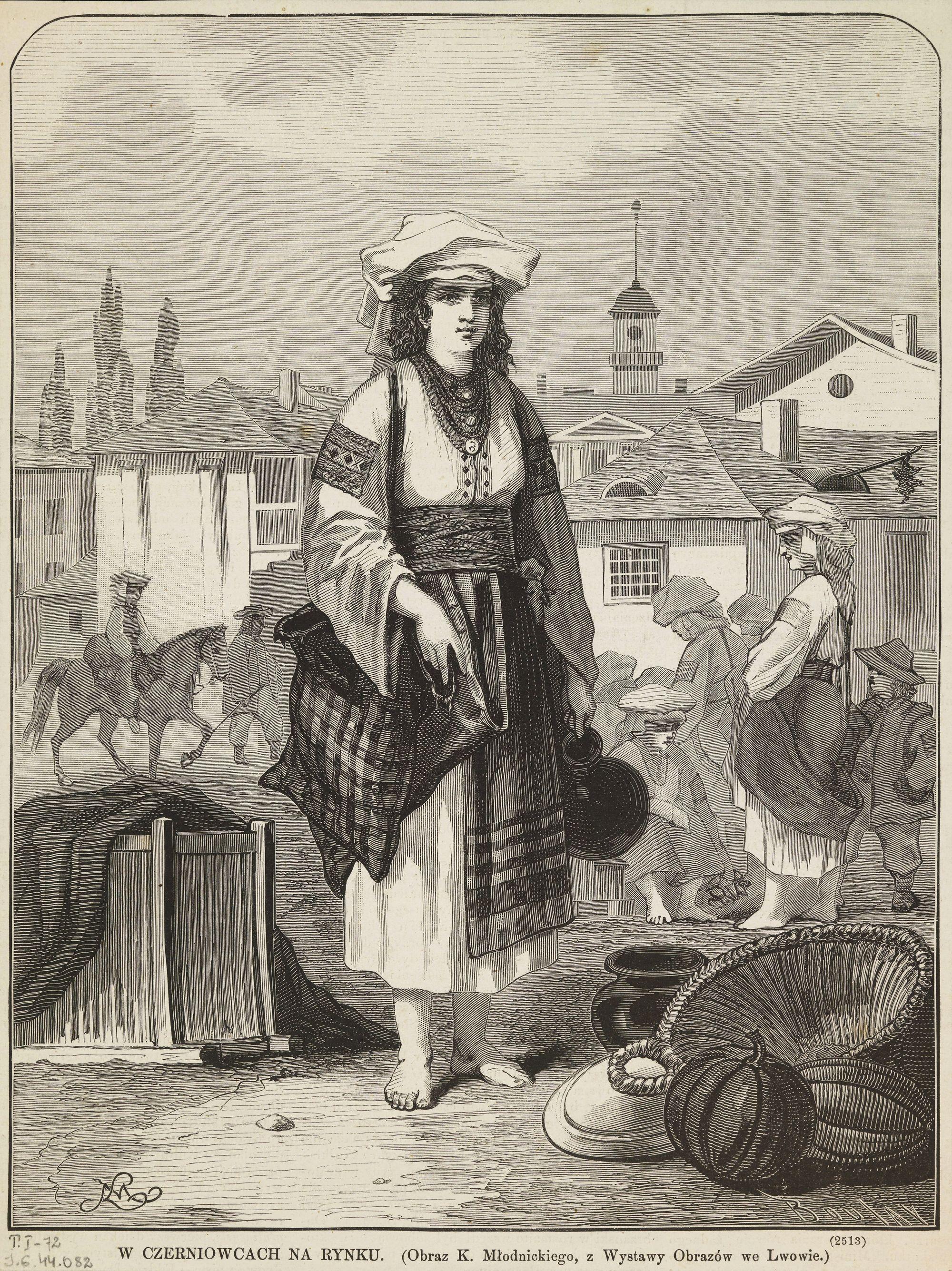 Кароль Млодніцький. Чернівці Ринок, 1873; 28х22 см; BNW