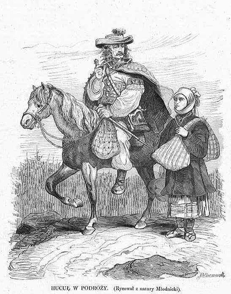 Кароль Млодніцький. Гуцул в дорозі, 1872; рисунок, 18х16 см