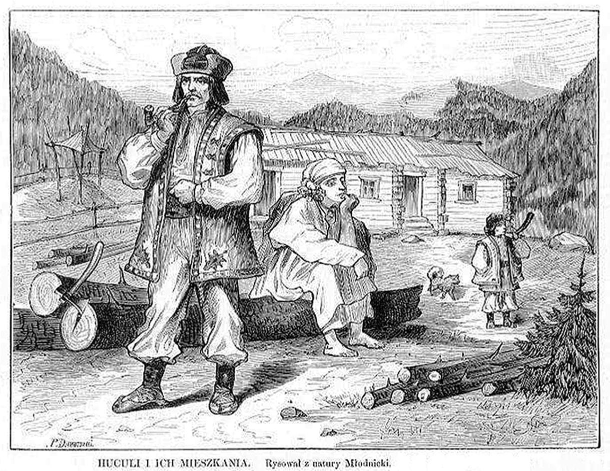 Кароль Млодніцький. Гуцули та їхні помешкання, 1872; 16х21 см