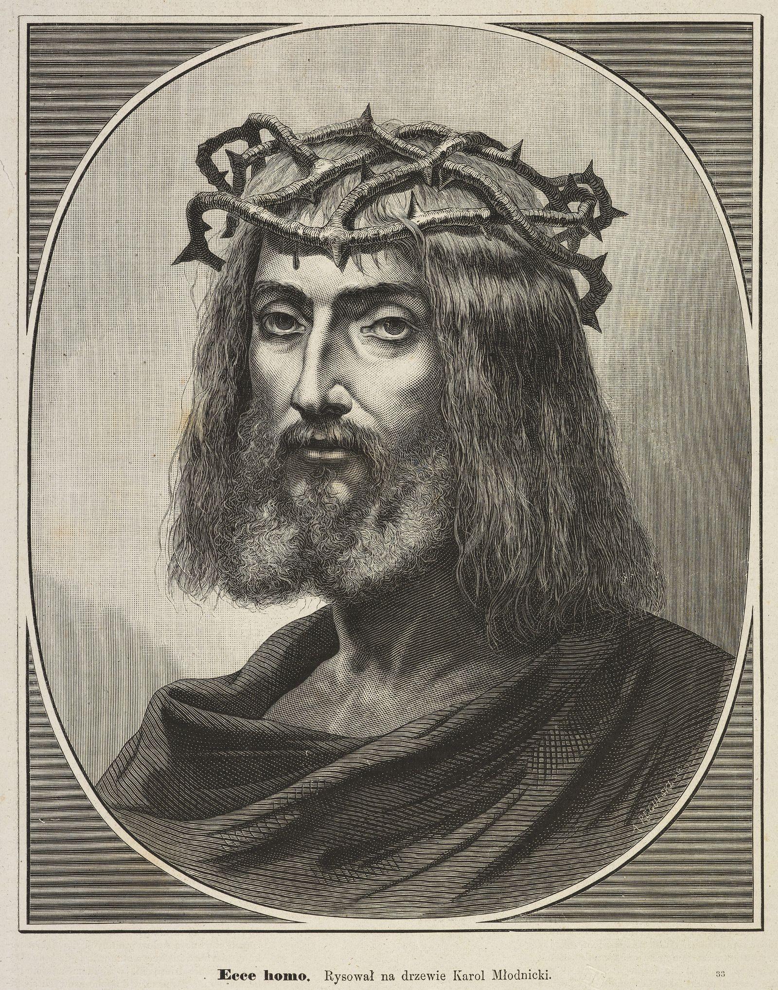 Кароль Млодніцький. Христос в тереновому вінку, 1876; дереворит, 27х23 см; BNW