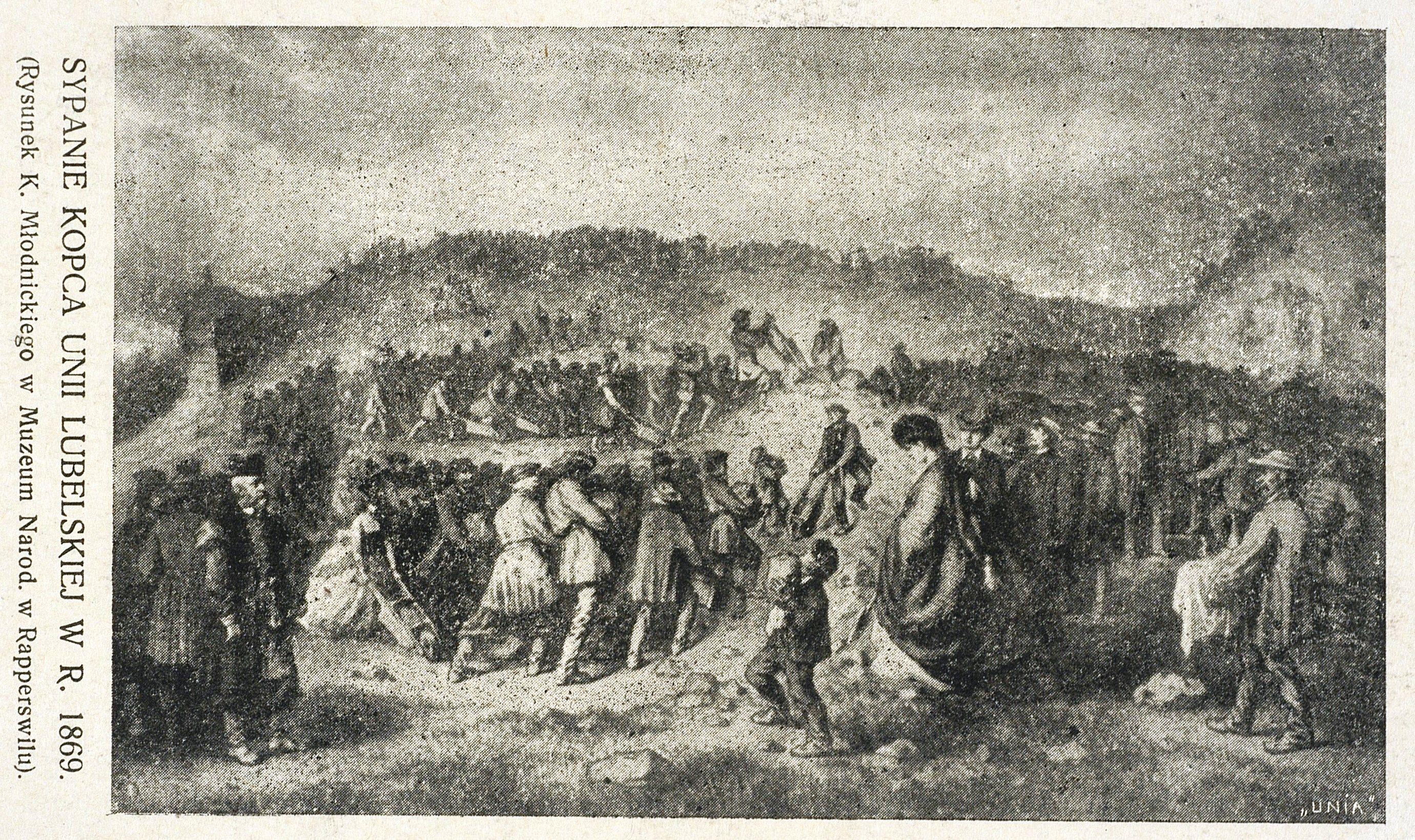 Кароль Млодніцький. Львів. Насипання кургану Люблінської унії, 1869