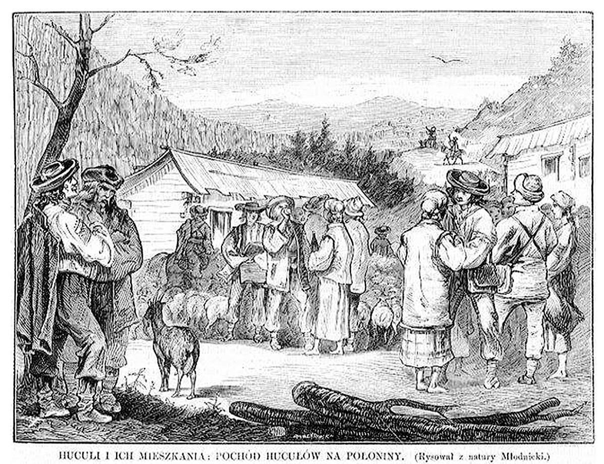Кароль Млодніцький. Похід на полонину, 1872; 16х22 см