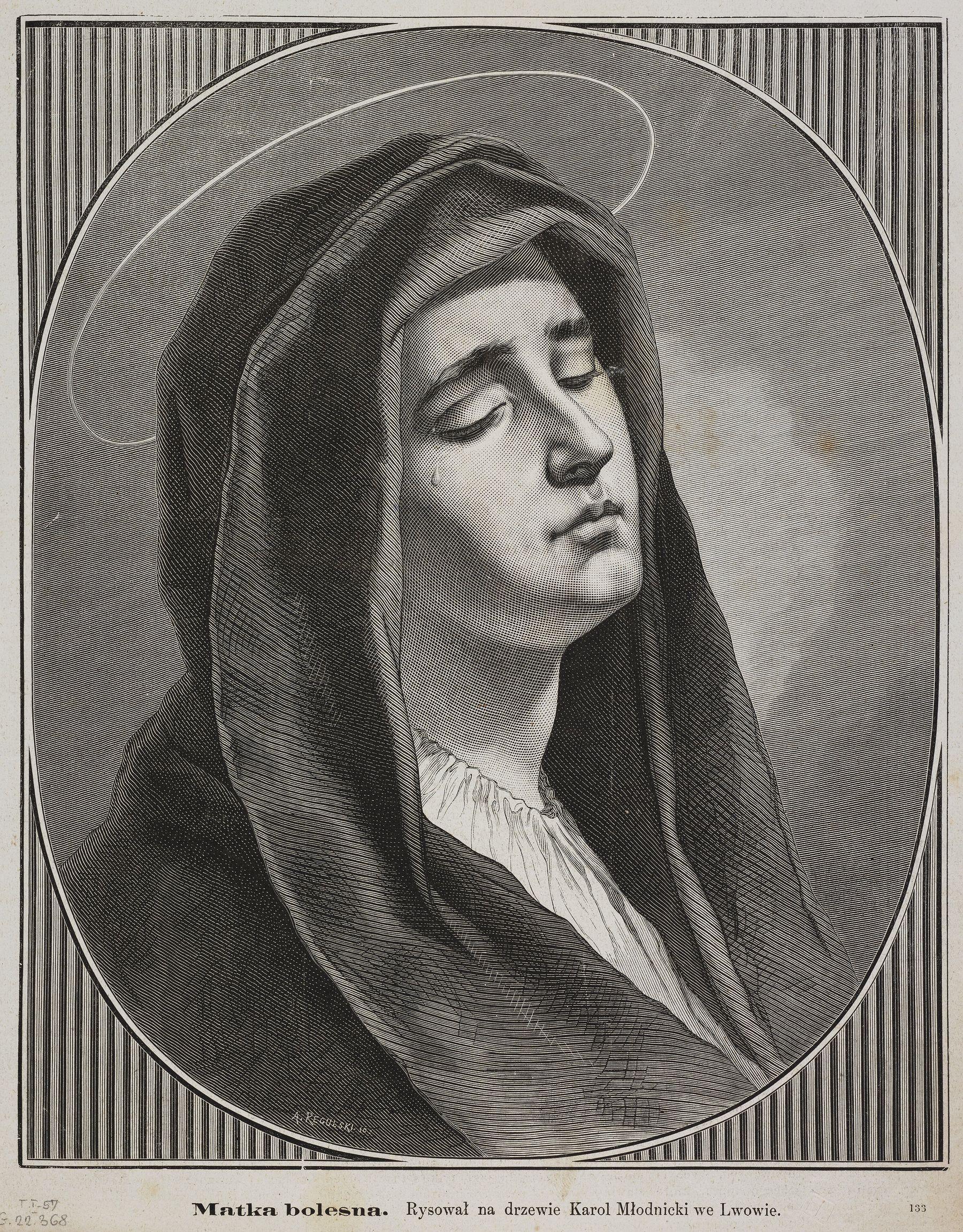 Кароль Млодніцький. Cкорботна мати, 1884; дереворит, 28х22 см; BNW