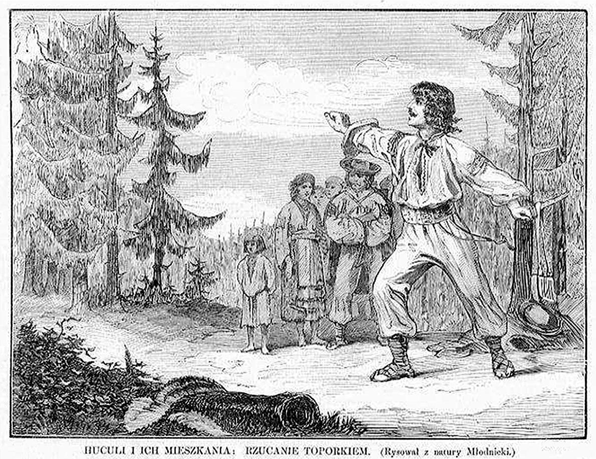 Кароль Млодніцький. Стукіт топірця, 1872; рисунок, 16х21 см
