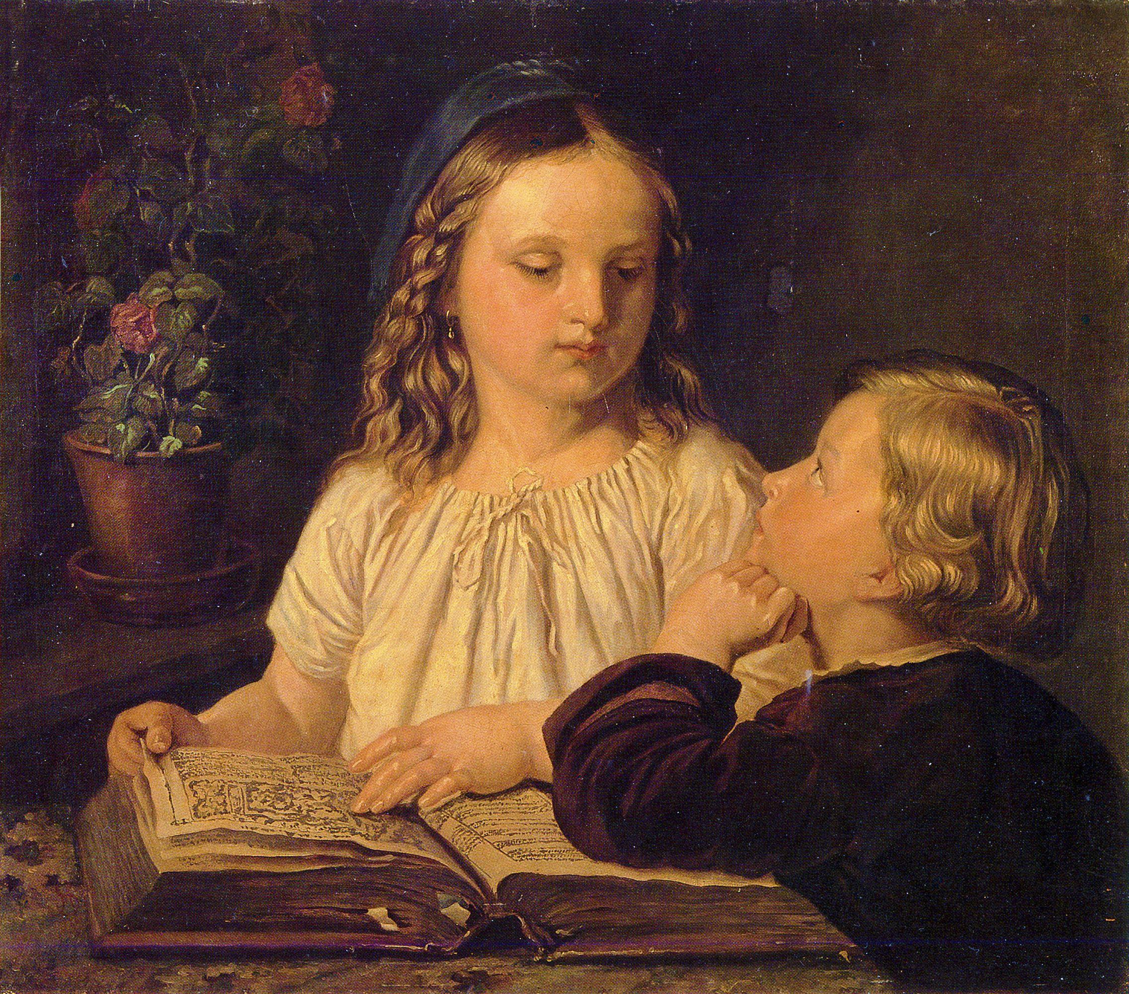Фелікс Ян Щенсни Моравський. Діти з книгою, 1867; олія на полотні, 63х73 см; ЛНГМ