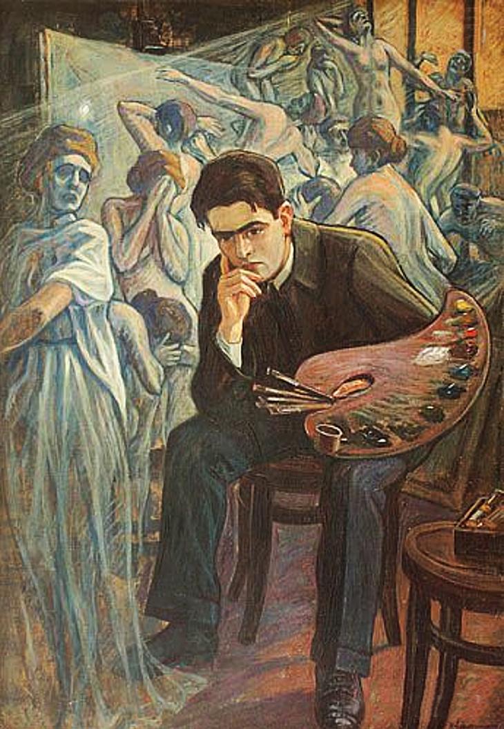 Генрик Лангерман. Автопортрет з музами, 1920; олія, полотно