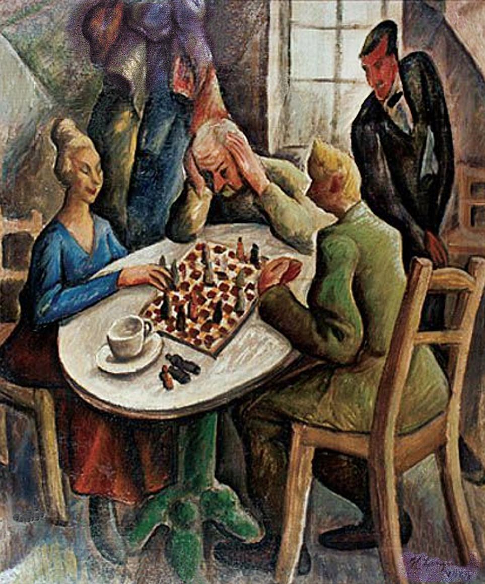 Генрик Лангерман. Гра в шахи, 1923; олія, полотно