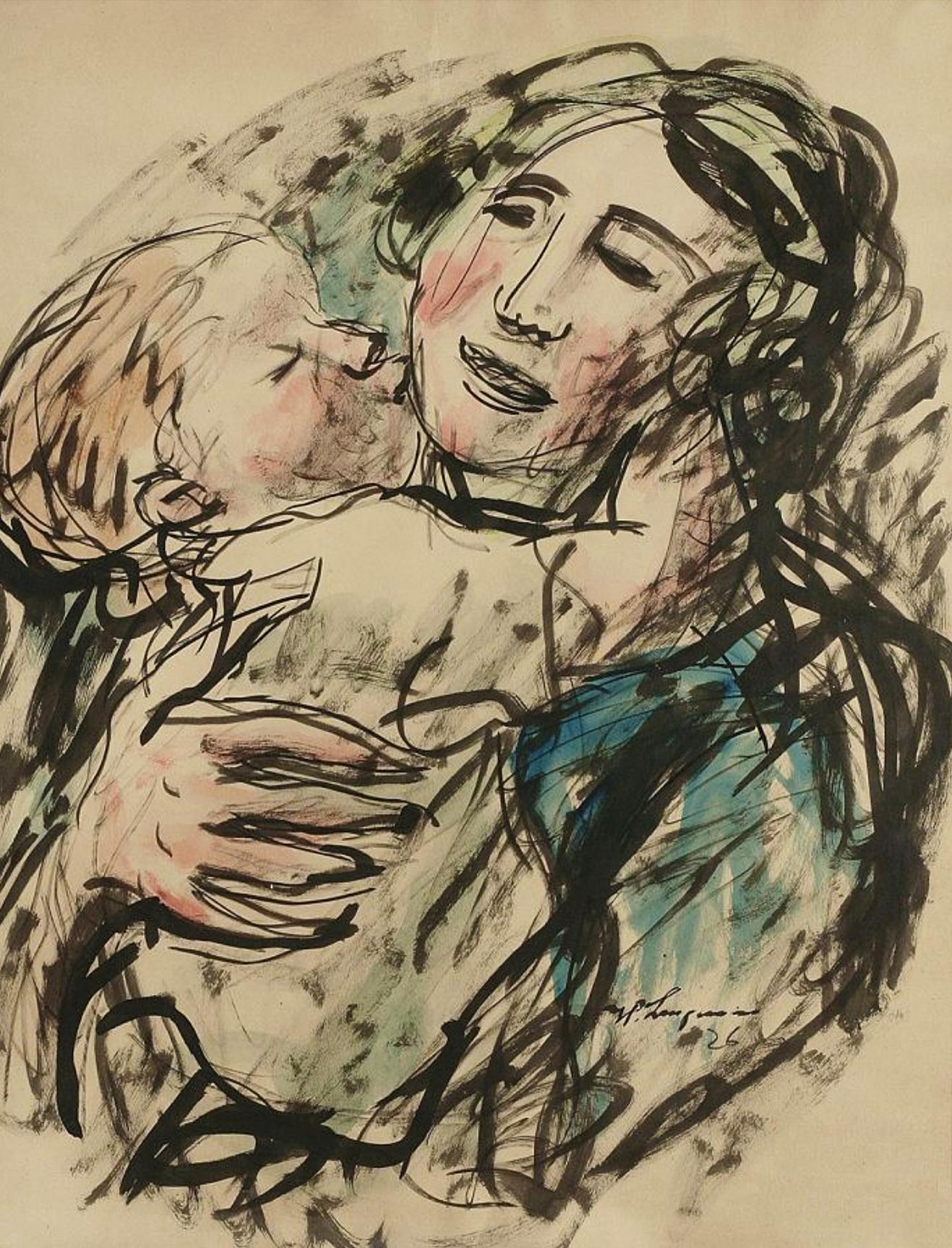Генрик Лангерман. Материнство, 1926; папір, акварель, туш