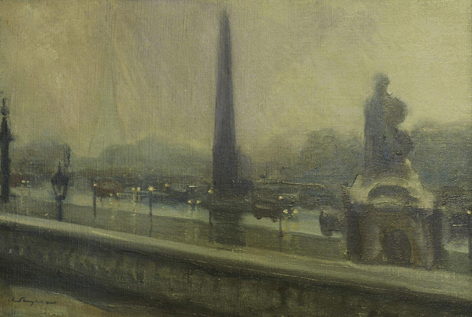 Генрик Лангерман. Париж площа Конкорд, 1920-ті; олія, полотно