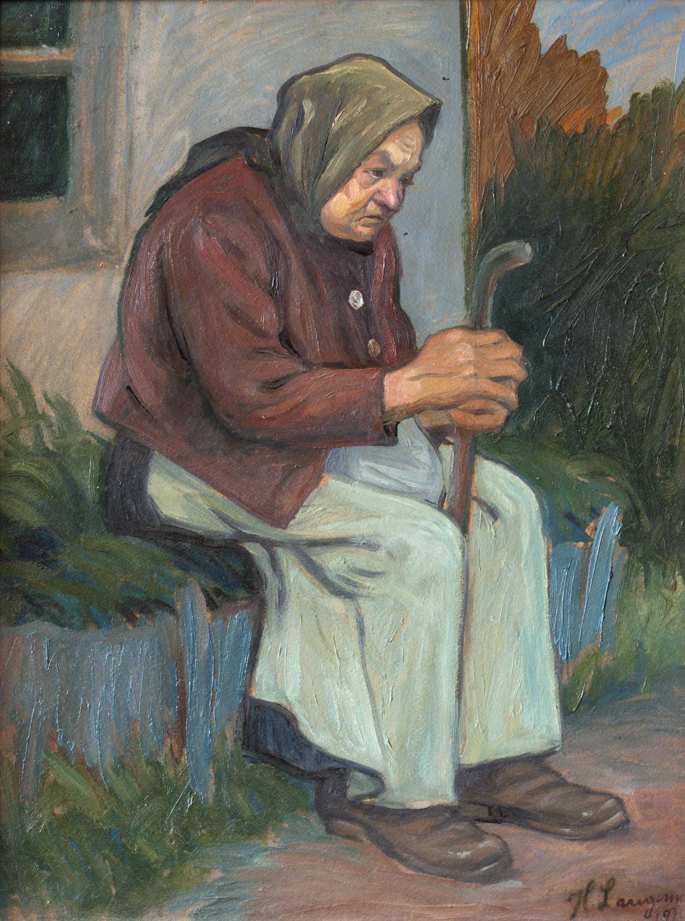 Генрик Лангерман. Cтара єврейка, 1930-ті; олія, картон; приватна збірка