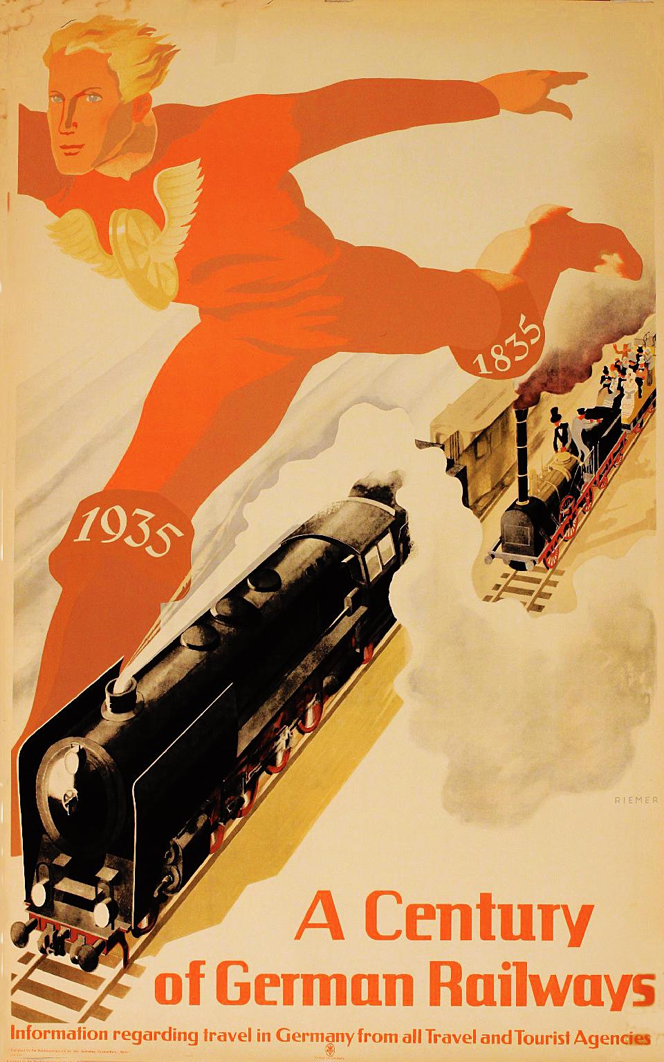Александер Рімер. Сторіччя залізниці Німеччини, 1935; плакат