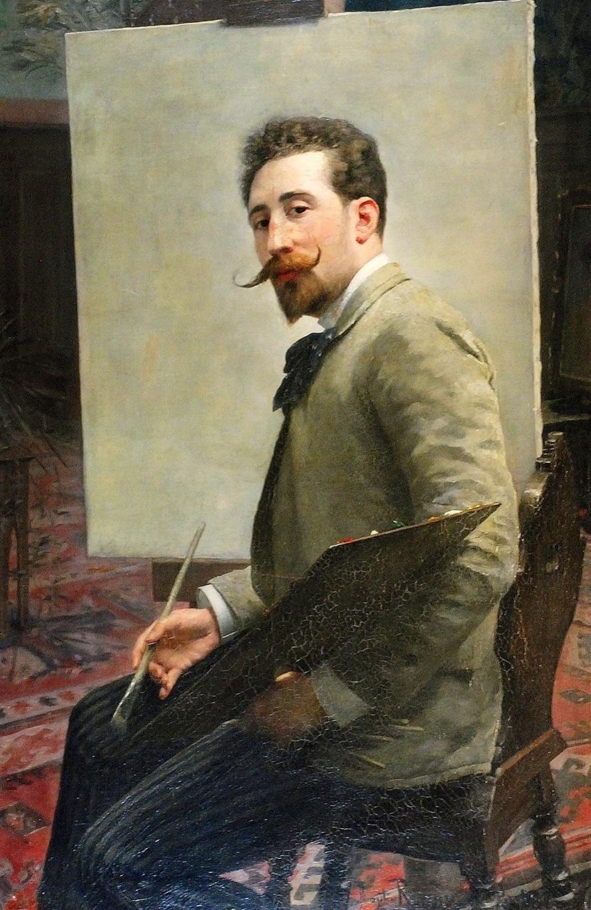 Мечислав Рейзнер. Автопортрет з палітрою, 1890; олія на полотні, 120x85 см