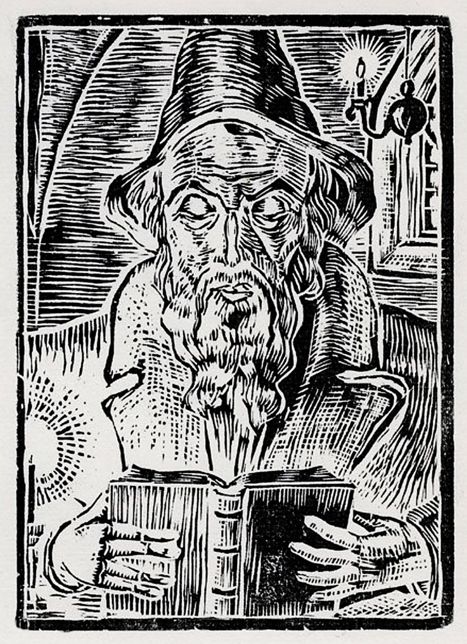 Еміль Кунке. Гуманіст, 1920-ті; дереворит